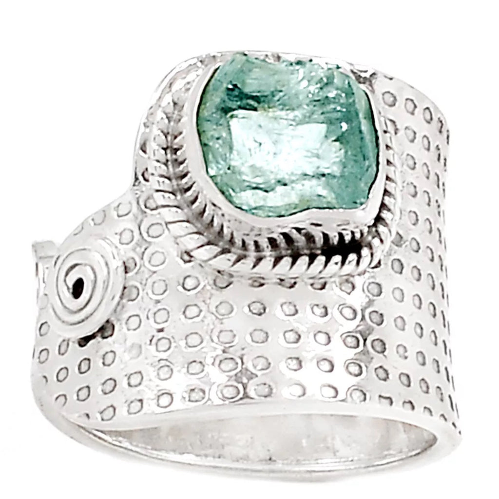 Aquamarine Rough Sterling Silver Spiral Adjustable Band Ring - Keja Designs Jewelry