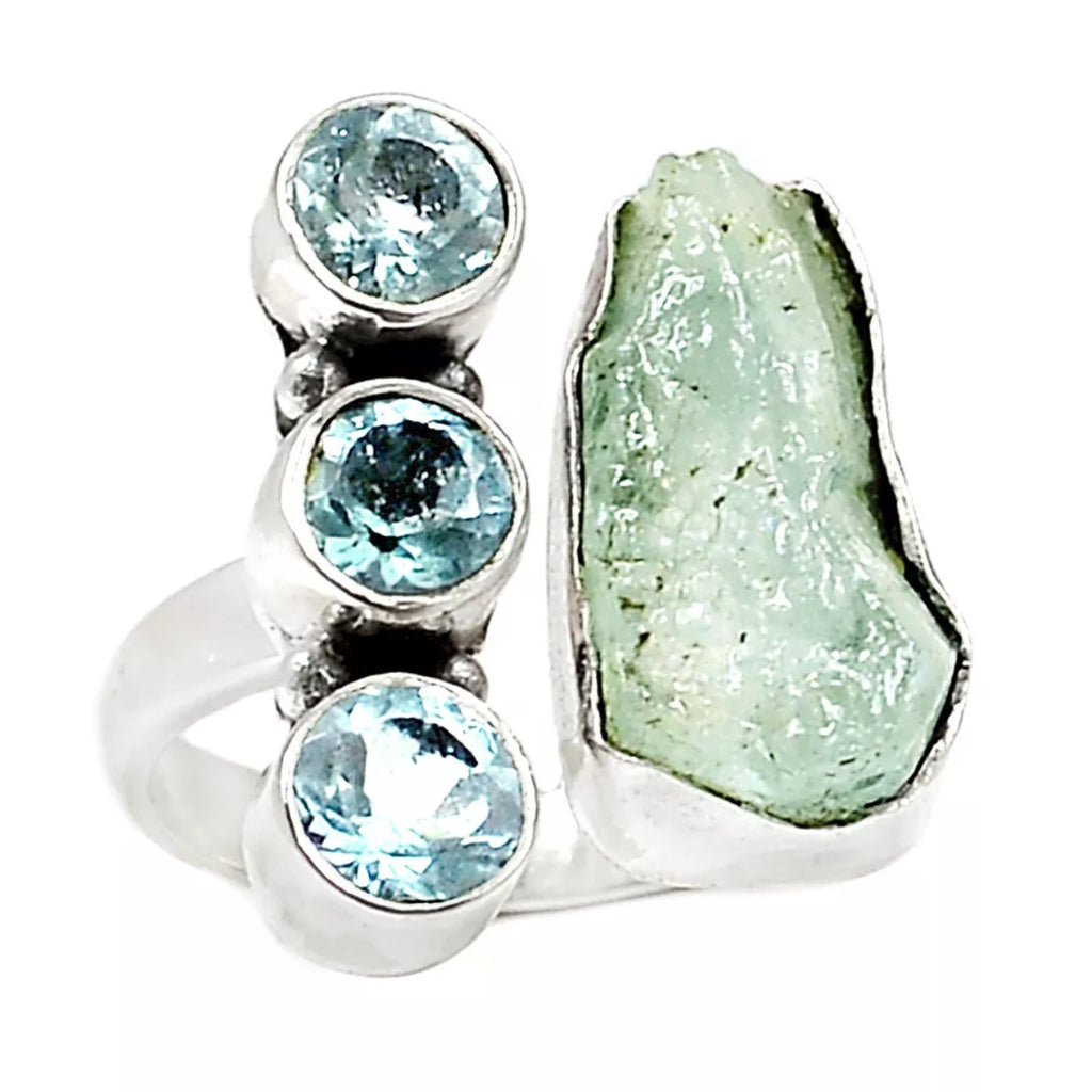Aquamarine Rough & Blue Topaz Adjustable Sterling Silver Ring - Keja Designs Jewelry