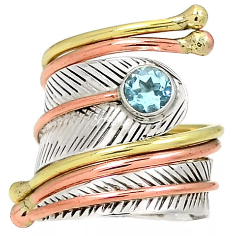 Blue Topaz Three Tone Adjustable Sterling Silver Wrap Ring - Keja Designs Jewelry