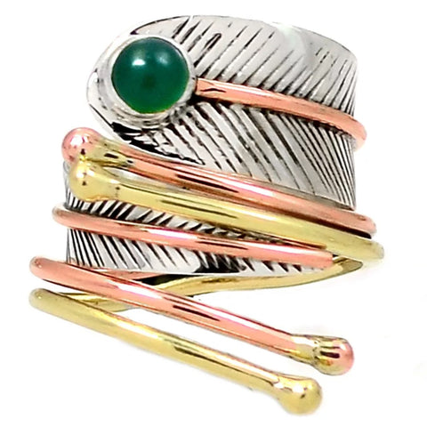 Green Onyx Three Tone Sterling Silver Adjustable Leaf Wrap Ring