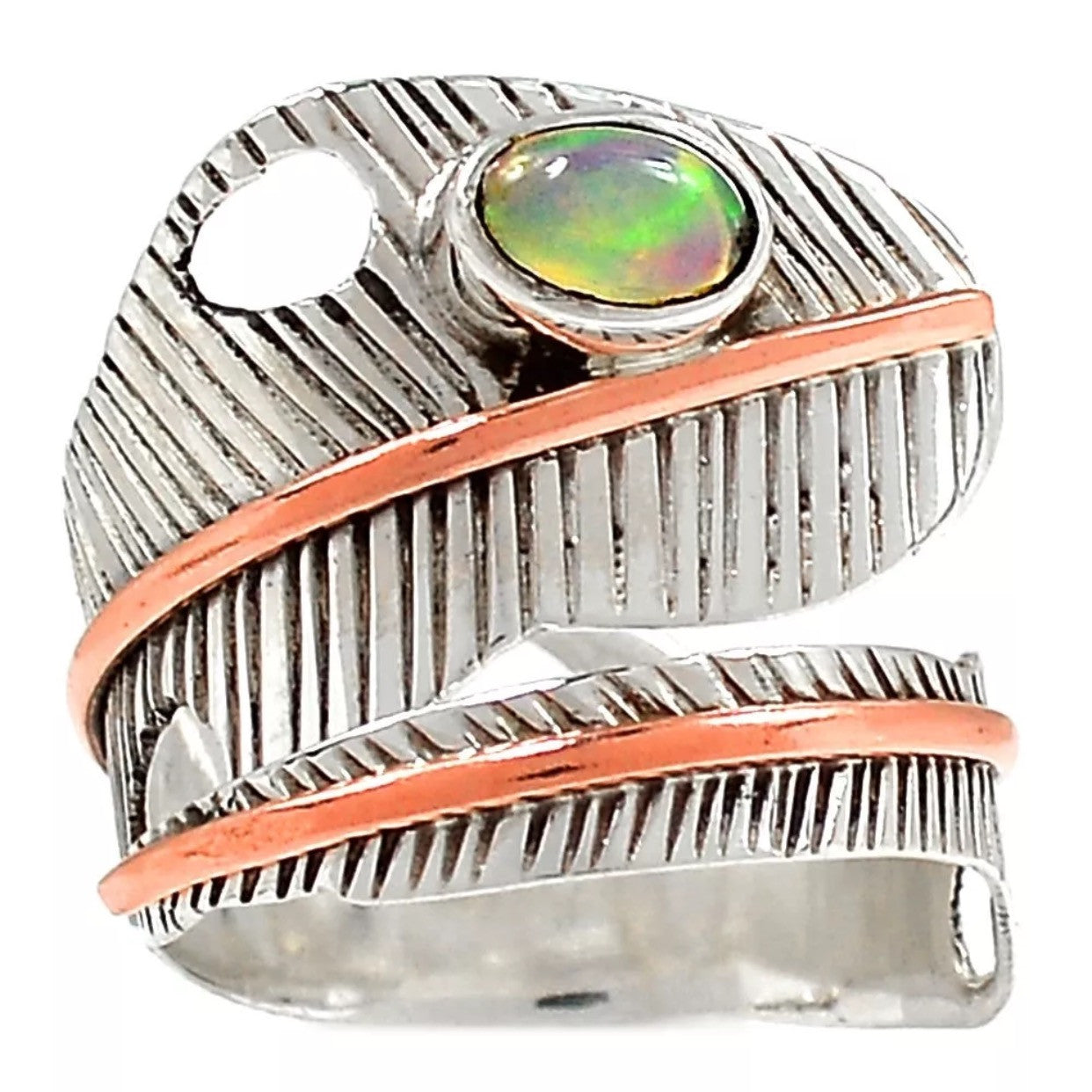 Ethiopian Opal Leaf Sterling Silver Adjustable Wrap Ring - Keja Designs Jewelry