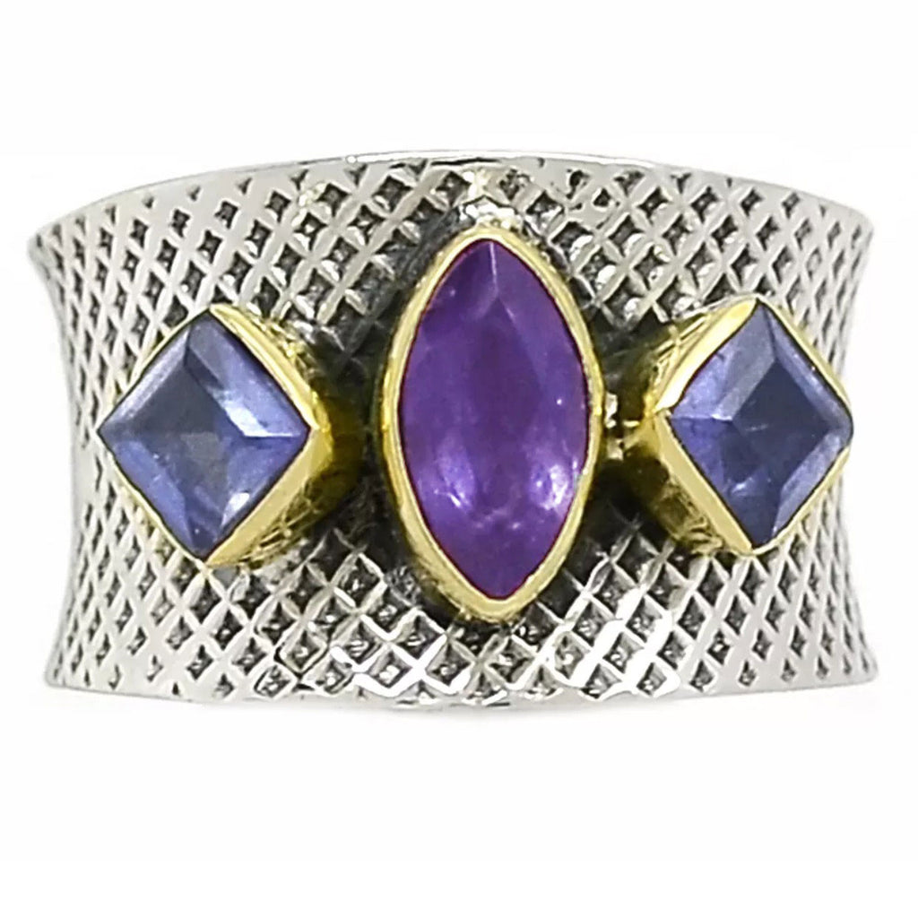 Amethyst & Iolite Sterling Silver Two Tone Band Ring - Keja Designs Jewelry