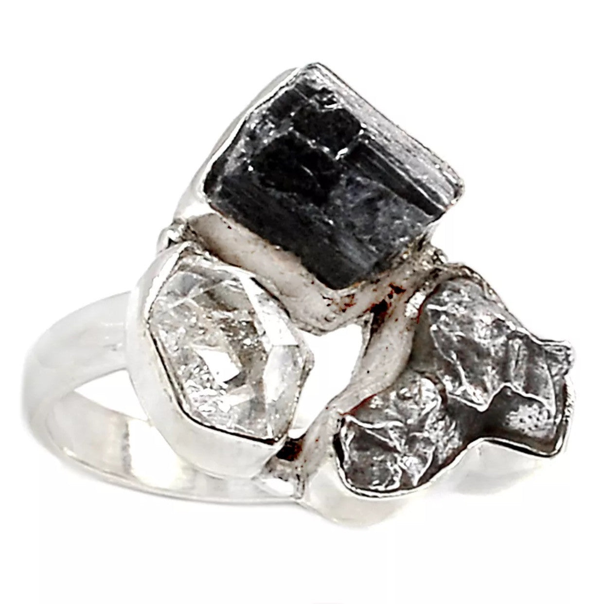 Campo de Cielo Meteorite, Black Tourmaline & Herkimer Sterling Silver Ring - Keja Designs Jewelry