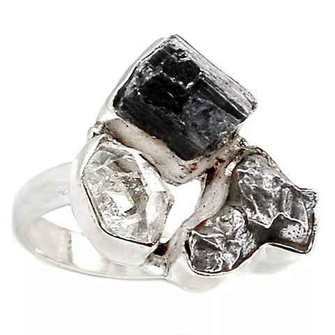 Campo de Cielo Meteorite, Black Tourmaline & Herkimer Sterling Silver Ring