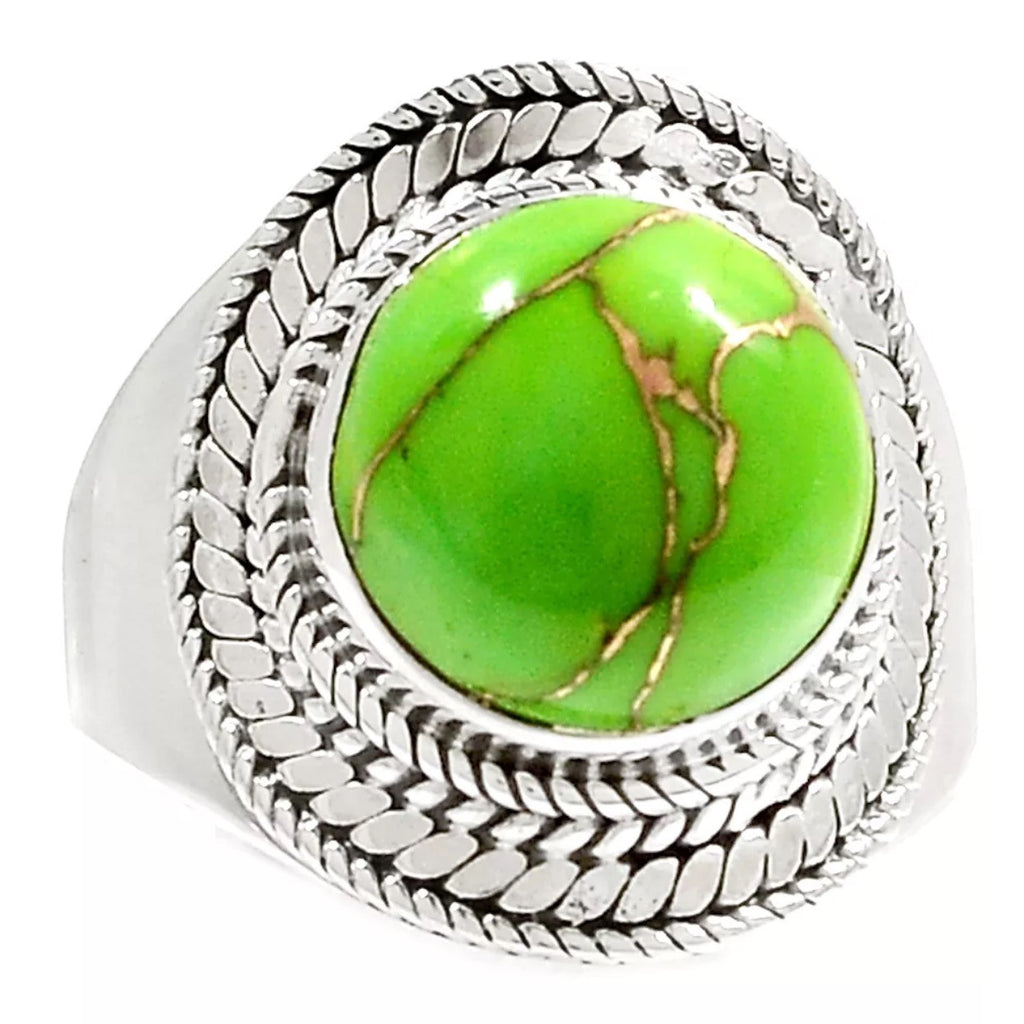 Green Copper Turquoise Sterling Silver Ring - Keja Designs Jewelry