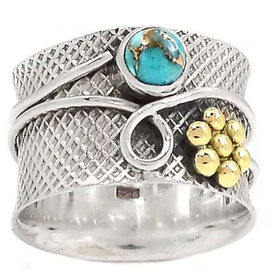 "Turquoise ""Garden"" Two Tone Sterling Silver Band Ring - Keja Designs Jewelry"