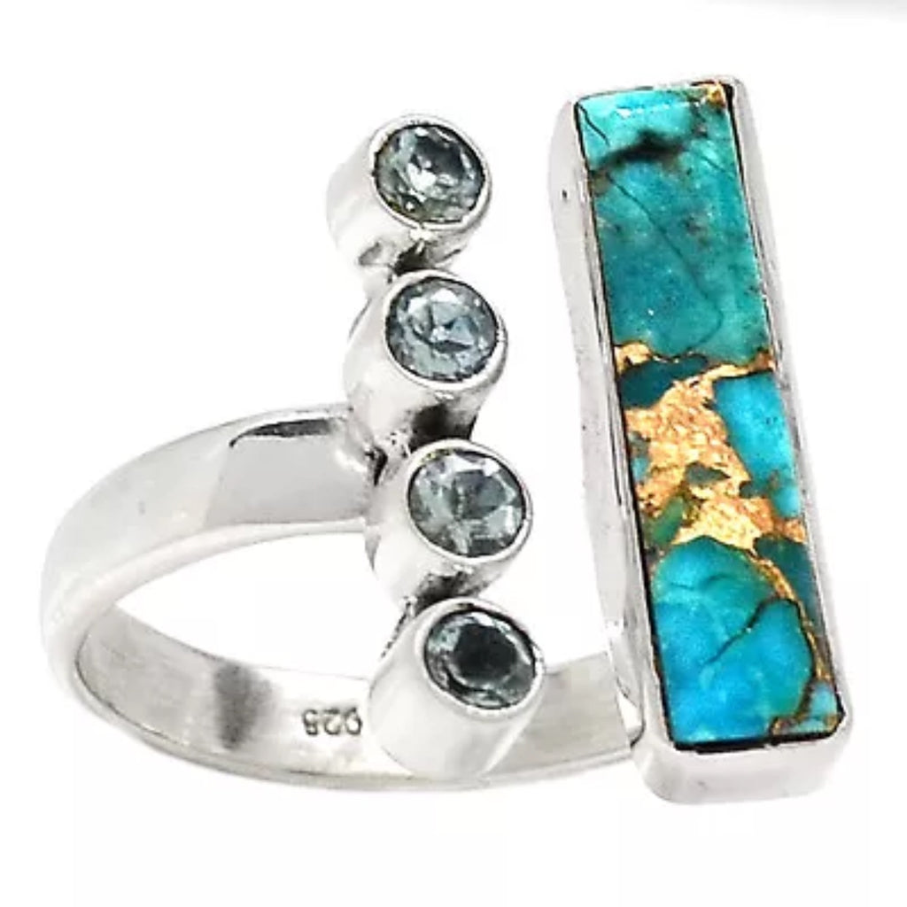 Blue Topaz & Blue Copper Turquoise Sterling Silver Oblong Ring - Keja Designs Jewelry