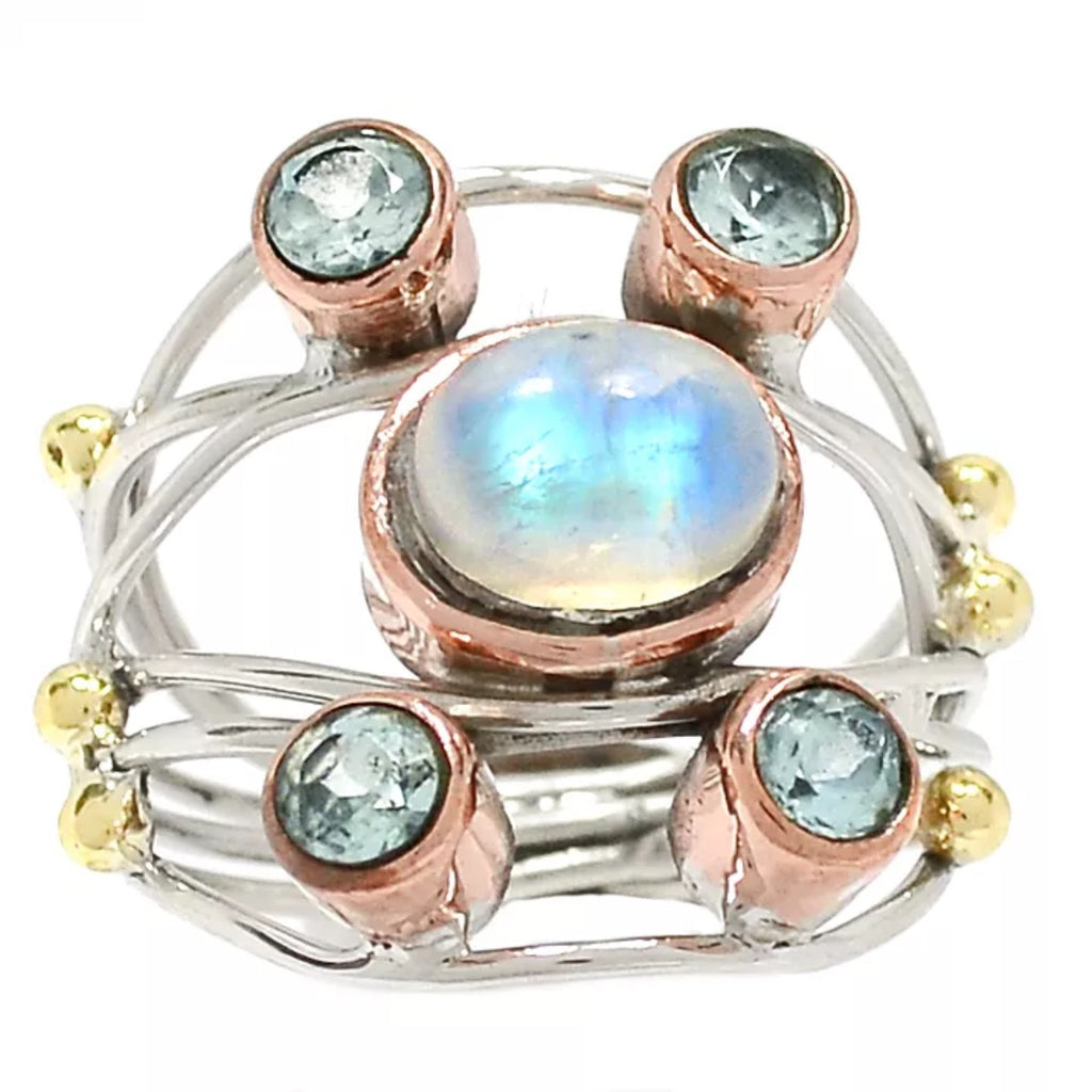 Moonstone & Blue Topaz Sterling Silver Three Tone Collage Ring - Keja Designs Jewelry