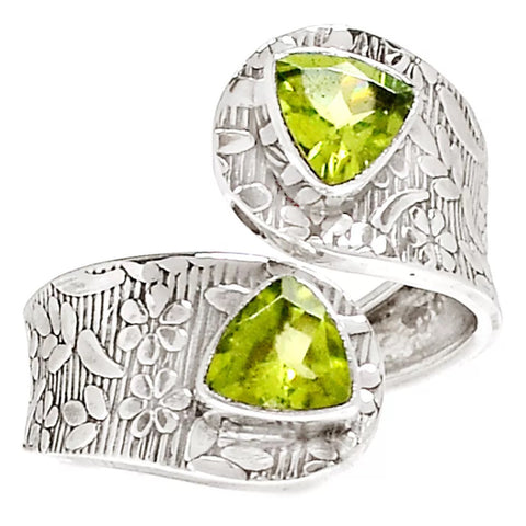 Peridot Adjustable Sterling Silver Ring