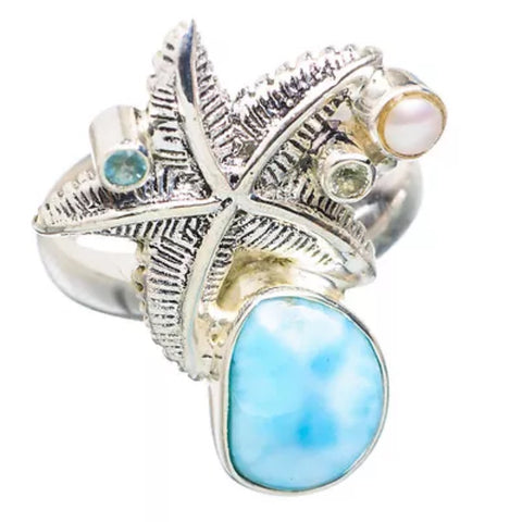 Larimar, Blue Topaz & Pearl Sterling Silver Starfish Ring