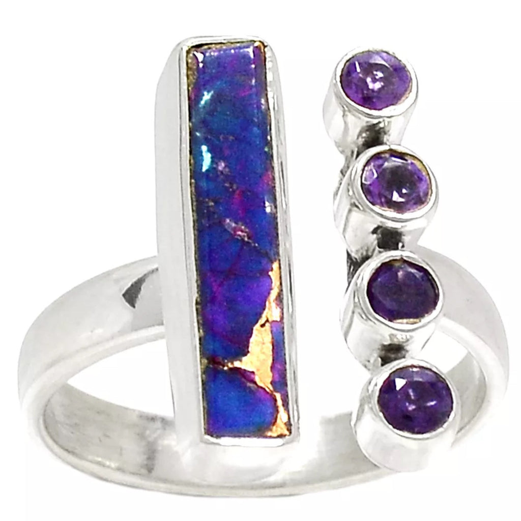 Amethyst & Purple Copper Turquoise Sterling Silver Oblong Ring - Keja Designs Jewelry