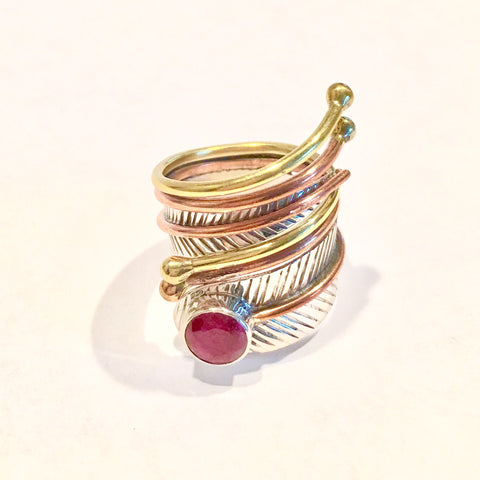 Ruby Three Tone Sterling Silver Adjustable Wrap Ring