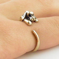 Animal Wrap Ring - Spaniel Dog - Yellow Bronze - Adjustable Ring - keja Jewelry - Keja Designs Jewelry