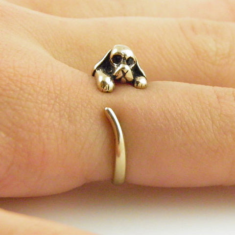 Animal Wrap Ring - Spaniel Dog - Yellow Bronze - Adjustable Ring - keja Jewelry