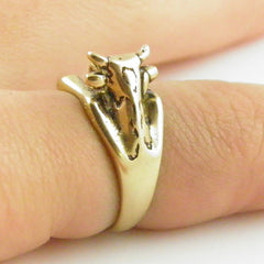 Animal Wrap Ring - Cow - Yellow Bronze - Adjustable Ring - Keja Jewelry - Keja Designs Jewelry