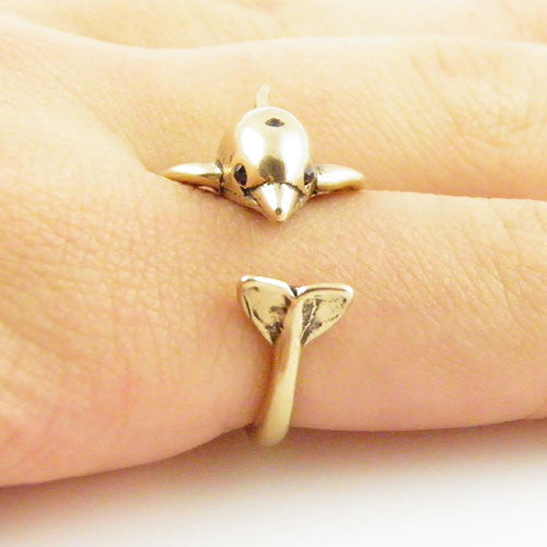 Animal Wrap Ring - Dolphin - Yellow Bronze - Adjustable Ring - Keja Jewelry - Keja Designs Jewelry