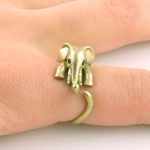 Elephant Animal Wrap Ring - Yellow Bronze Adjustable Ring