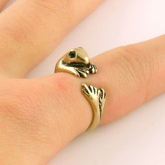 Animal Wrap Ring - Frog - Yellow Bronze - Adjustable Ring - keja jewelry - Keja Designs Jewelry