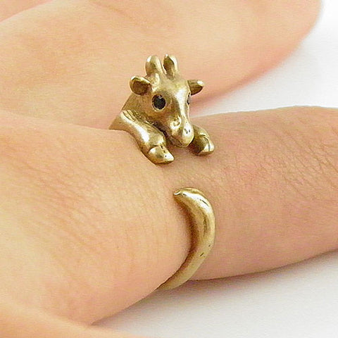 Animal Wrap Ring - Giraffe - Yellow Bronze - Adjustable Ring - keja jewelry