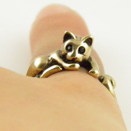 Animal Wrap Ring - Lazy Cat - Yellow Bronze - Adjustable Rig - keja Jewelry - Keja Designs Jewelry