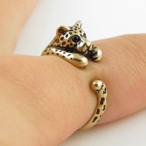 Animal Wrap Ring - Leopard - Yellow Bronze - Adjustable Ring - Keja Designs Jewelry