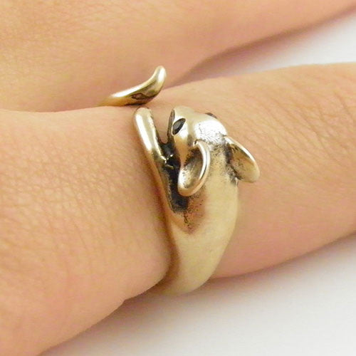Animal Wrap Ring - Mouse - Yellow Bronze - Adjustable Ring - keja jewelry - Keja Designs Jewelry