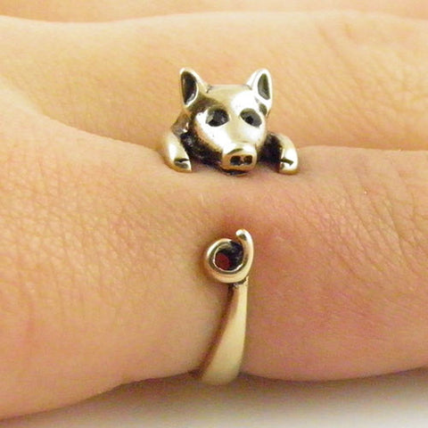 Animal Wrap Ring - Pig - Yellow Bronze - Adjustable Ring - keja jewelry