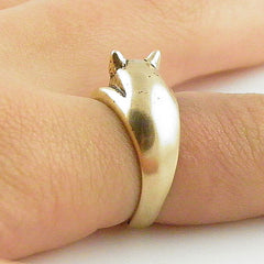Animal Wrap Ring - Pig - Yellow Bronze - Adjustable Ring - keja jewelry - Keja Designs Jewelry