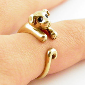 Animal Wrap Ring - Puppy - Yellow Bronze - Adjustable Ring - keja jewelry - Keja Designs Jewelry