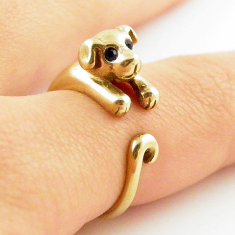 Animal Wrap Ring - Puppy - Yellow Bronze - Adjustable Ring - keja jewelry