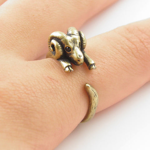 Animal Wrap Ring - Ram - Yellow Bronze - Adjustable Ring - keja Jewelry