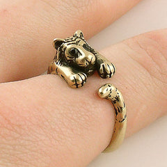 Animal Wrap Ring - Tiger - Yellow Bronze - Adjustable Ring - Keja Designs Jewelry