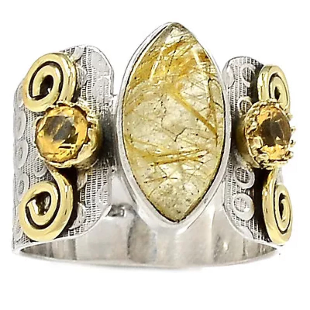Rutilated Quartz & Citrine TwoTone Sterling Silver Ring - Keja Designs Jewelry