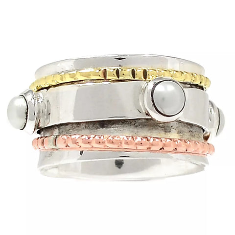 Spinner Ring Three Tone Pearl Spinner