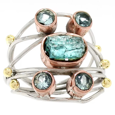 Aquamarine Rough & Blue Topaz Sterling Silver Three Tone Collage Ring