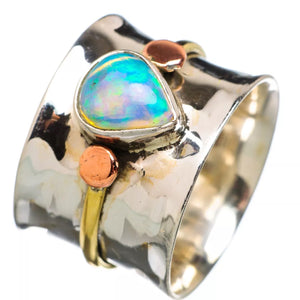 Ethiopian Opal Pear Shaped Stone Three Tone Band Ring - Keja Designs Jewelry