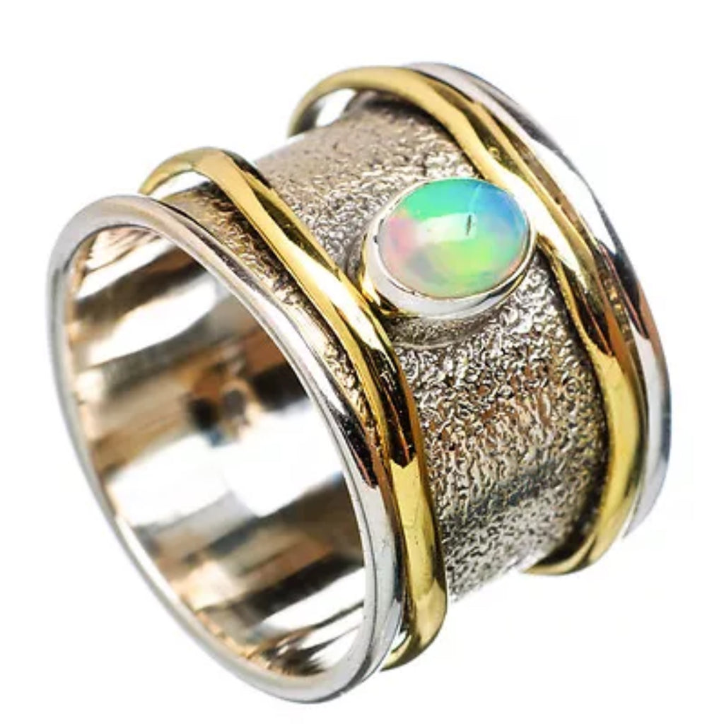 Spinner Ring Two Tone Ethiopian Opal Wavey Spinners - Keja Designs Jewelry