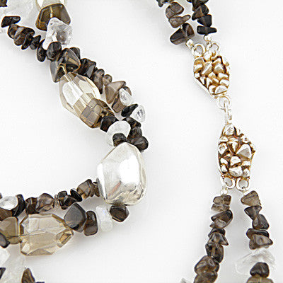 Smoky Quartz & Clear Quartz - Iced Coffee - Pure Silver Necklace