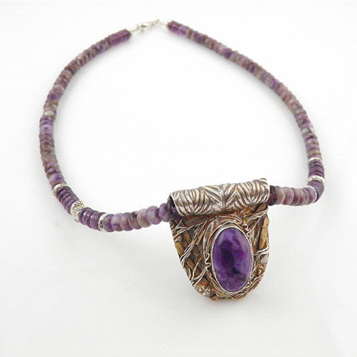 Junk Yard Charoite Gem Necklace with Pendant - Keja Designs Jewelry