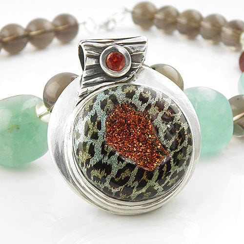 Leopard Drusy Pure Fine Silver Necklace - Keja Designs Jewelry