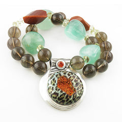 Leopard Drusy Pure Fine Silver Necklace
