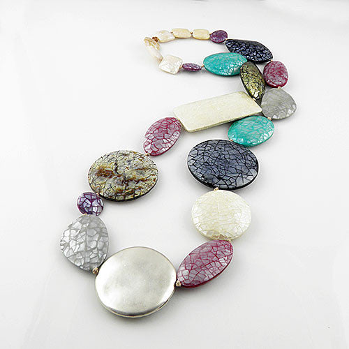 Mother of Pearl Mosaic Kaleidoscope Pure Silver Necklace - Keja Designs Jewelry