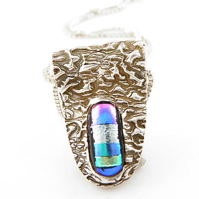 Dichroic Glass Pure Silver - Metamorphasis- Pendant - Keja Designs Jewelry