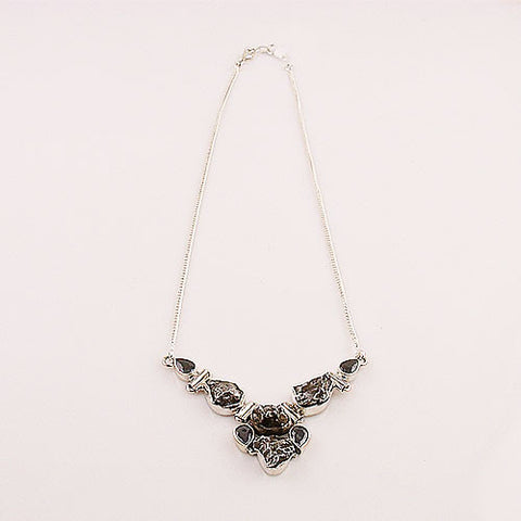 Campo de Cielo Meteorite & Black Onyx Sterling Silver Necklace