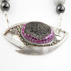 Titanium Drusy Evil Eye Pure Silver Necklace - Keja Designs Jewelry