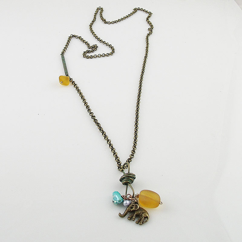 Bronze & Recycled Glass Necklace - Keja Designs Jewelry