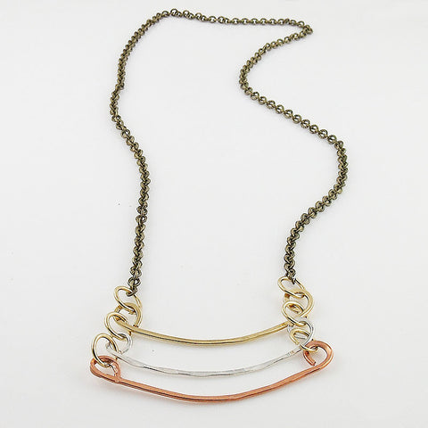 Copper, Bronze & Sterling Silver Three Tone Bar Necklace