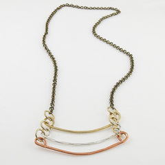 Copper, Bronze & Sterling Silver Three Tone Bar Necklace - Keja Designs Jewelry