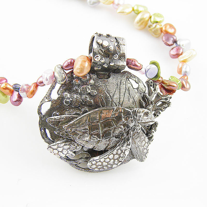 Turtle Swimming in the Coral Fine Silver Keshi Pearl Neclace - Keja Designs Jewelry