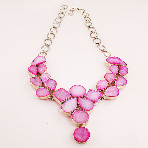 Sparkling Pink Drusy Quartz Sterling Silver Necklace - Keja Designs Jewelry